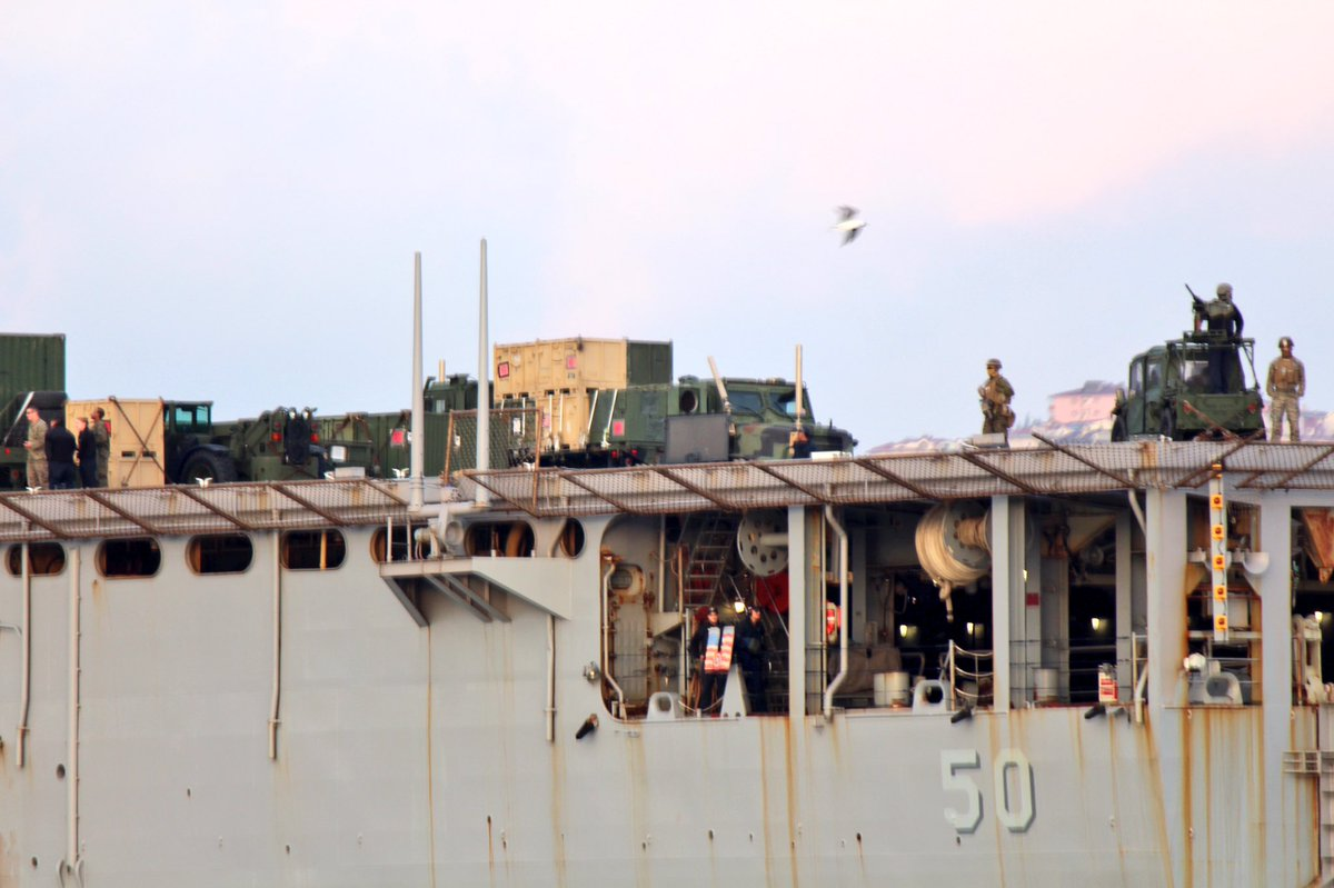 M1161 Growlers, aft ship, on USS Carter Hall stood guard during its Bosphorus transit. LSD carried cargo, HMMWVs, front loaders, dump trucks