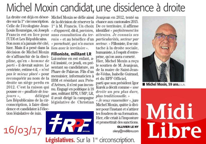 L&#39; #interview du candidat #RPF Michel #Moxin2017 (#Circo3401) dans le #MidiLibre  - #Lattes #Montpellier #Jeanjean #Kurek - #RPF34<br>http://pic.twitter.com/zsaS97zblD