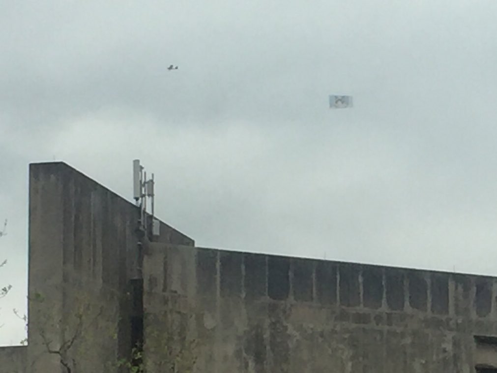 This is a banner of grumpy cat flying over #sxsw right now. A new low for humanity?