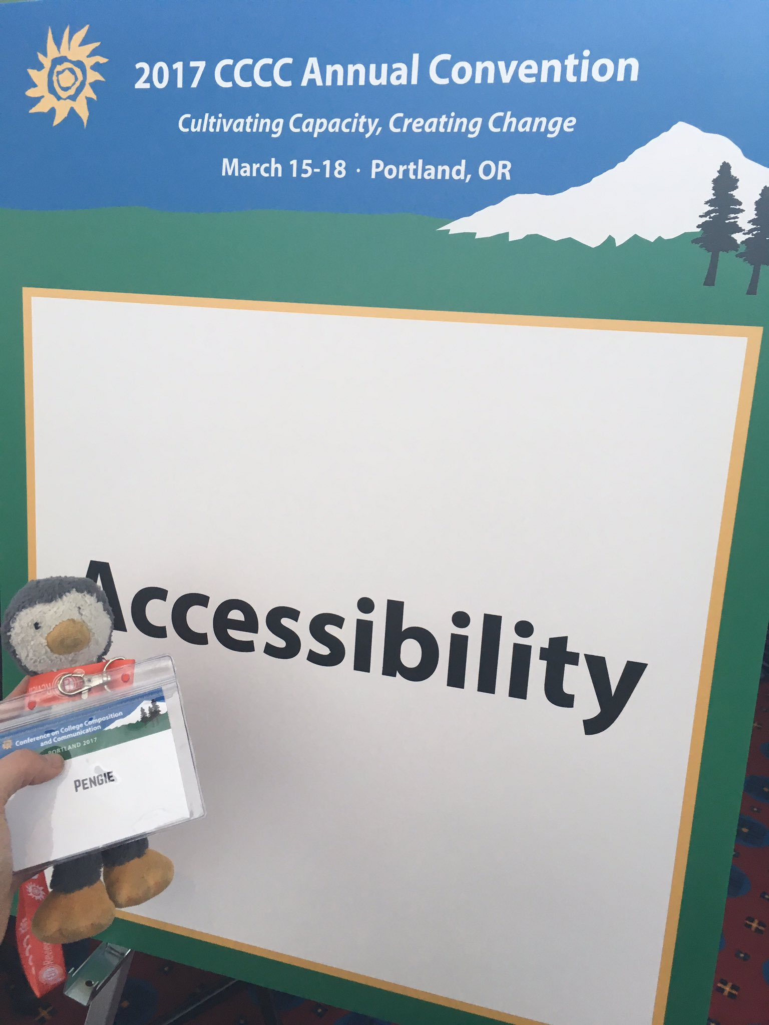 Pengie checks out the Access Table to learn about the disability studies SIG and accessibility at #4c17! https://t.co/RDP1jGBPsb