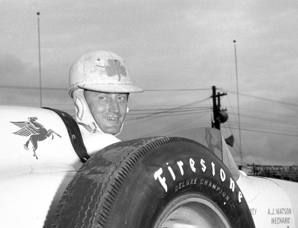 Steve H Shunck On Twitter 1956 Indy500 Winner Pat Flaherty Is The Only Drivers To Appear BorgWarner Trophy With A Shamrock His Helmet