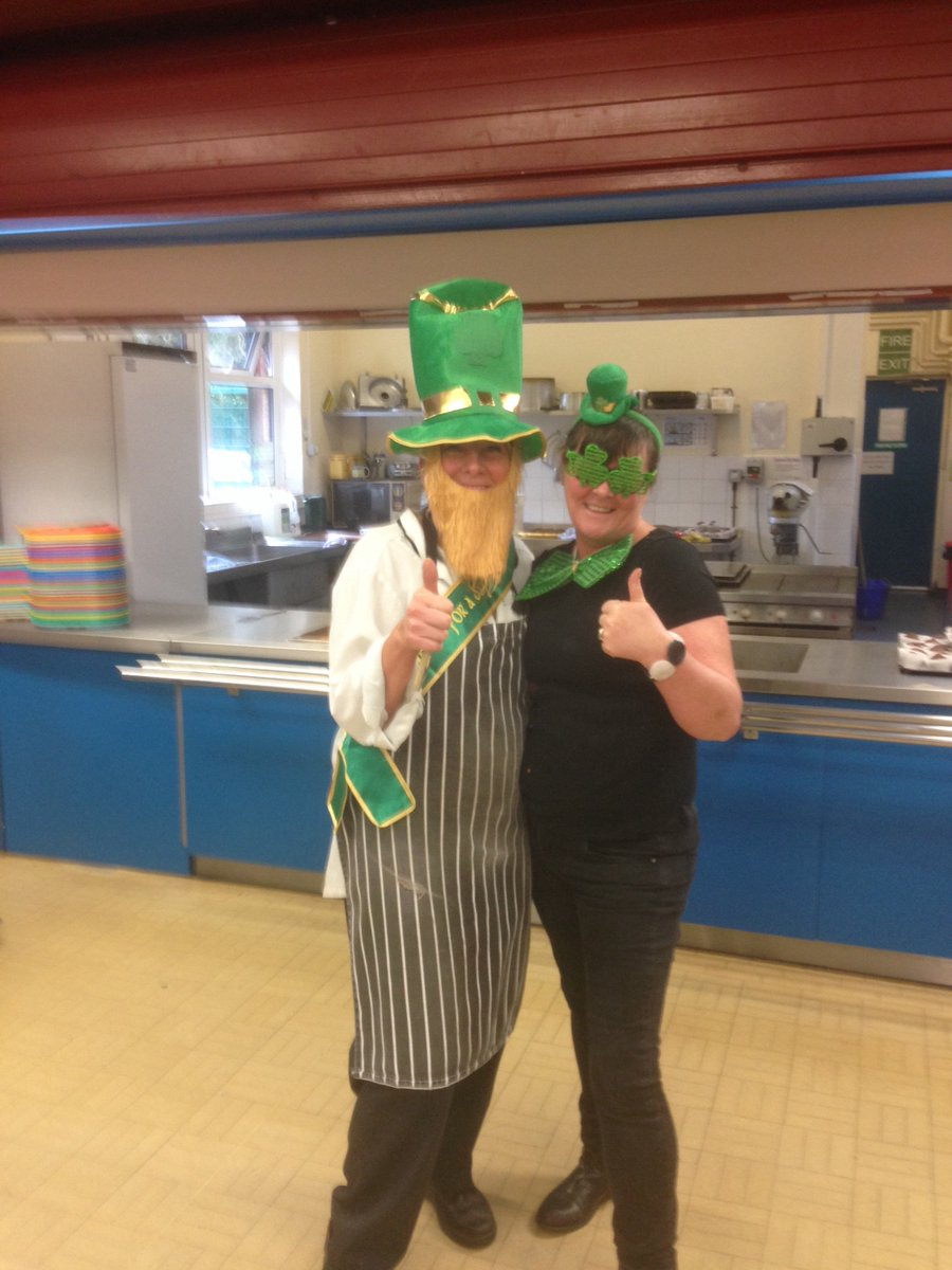 Fantastic catering staff joining in the revelry of St Patrick's Day.