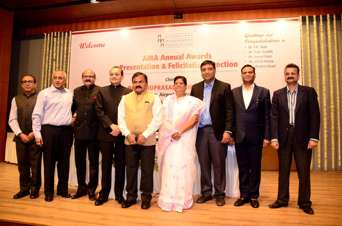 Ahmedabad: Ahmedabad Management Association (AMA) today honored and  felicitated five top business luminaries of the city at the AMA Annual  Awards.