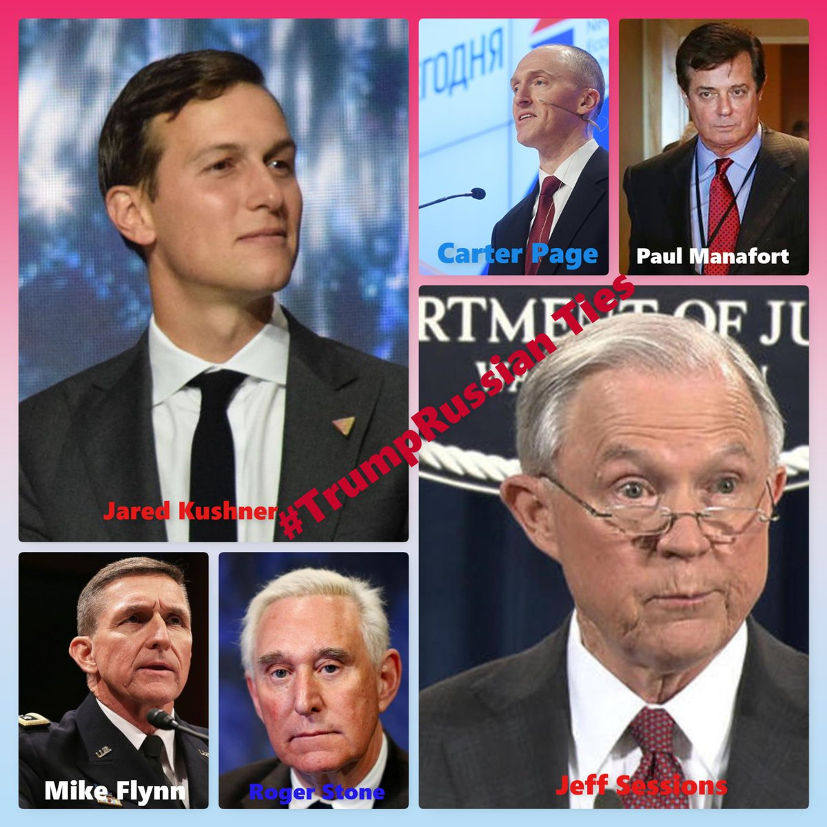 Image result for Images of M. Flynn, Kushner, Manafort, Pege Carter