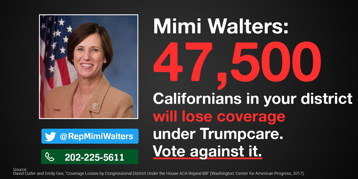 .@RepMimiWalters, 47,500 of your constituents would lose coverage under Trumpcare. Stand up and oppose it!