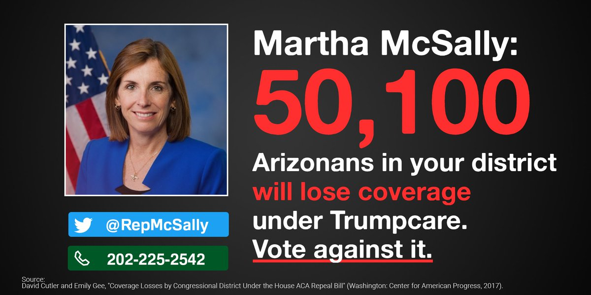 .@RepMcSally, 50,100 of your constituents would lose coverage under Trumpcare. Stand up and oppose it!