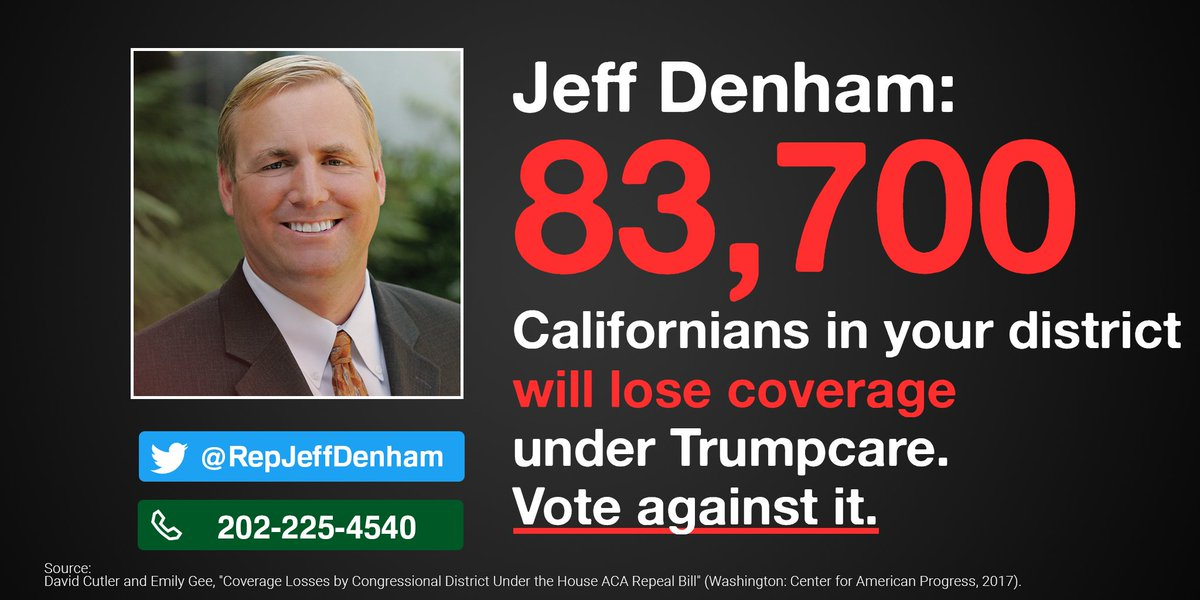 .@RepJeffDenham, 83,700 of your constituents would lose coverage under Trumpcare. Stand up and oppose it!