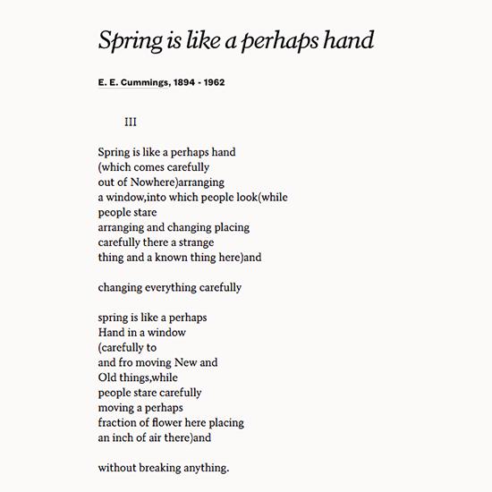 Spring is like a perhaps hand —E. E. Cummings #firstdayofspring poets.org/poetsorg/poem/…