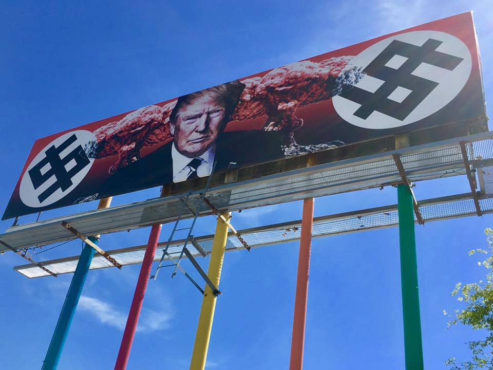 Art? Or crossing the line? New billboard featuring President Trump goes up in downtown Phoenix.