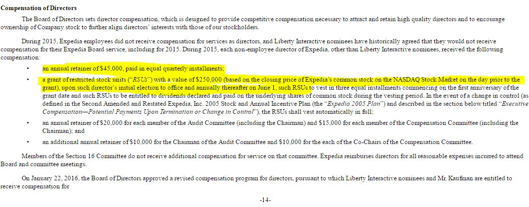 Chelsea Clinton named to Expedia board. If reading filings correctly, she gets $45k/year cash, plus $250k/year in stock vesting over 3 years