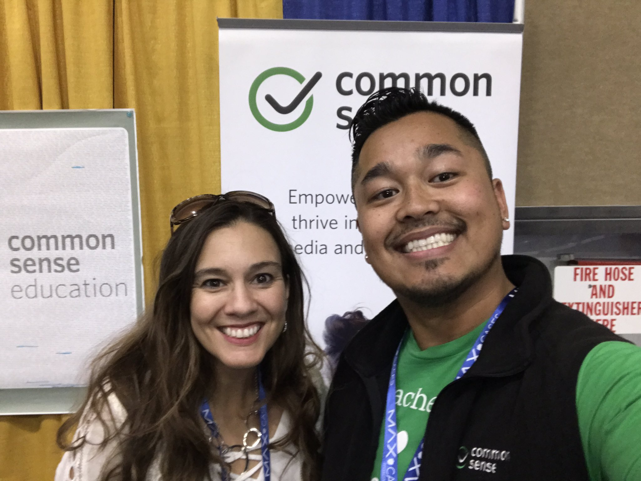 Selfie appearance by @JillBromen at our @CommonSenseEd booth here at #cue17.  Great to meet #edtech leaders this week. https://t.co/bx8p4bxJUc