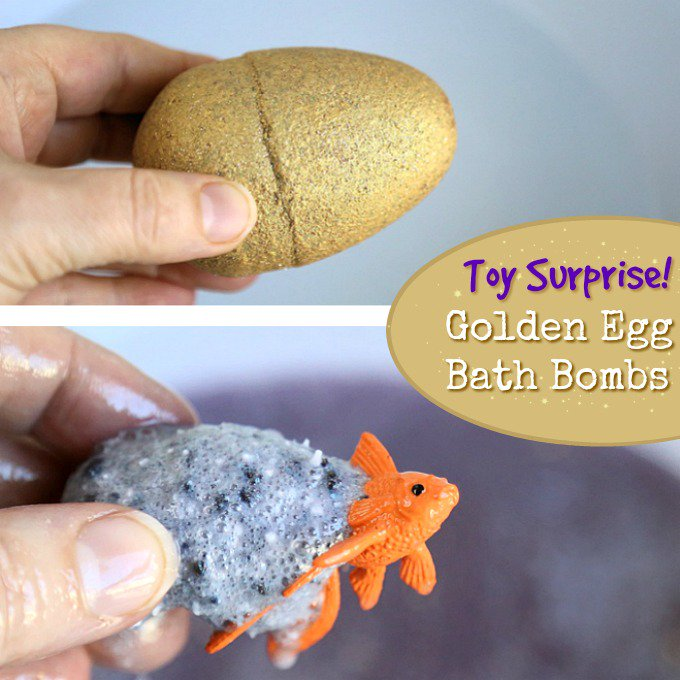 DIY Toy Surprise Inside Golden Egg Bath Bombs