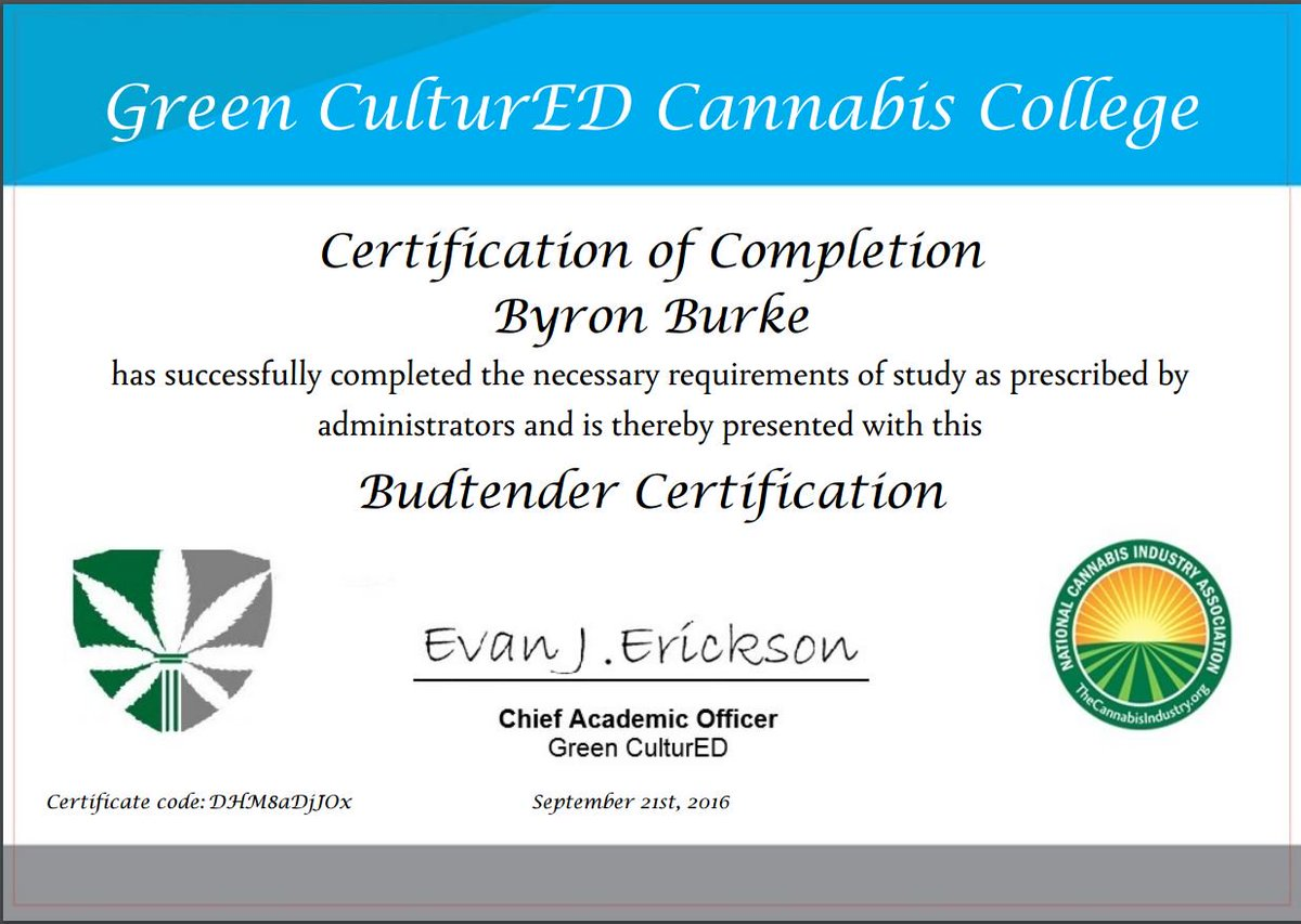 Byron Burke On Twitter Just Received My Budtender Badge From