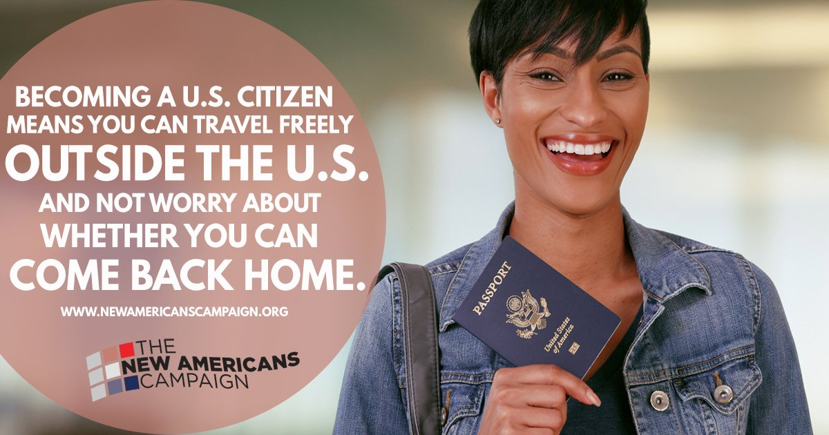 Do you want to travel freely to visit your family outside the U.S.? Become a citizen! Learn more: https://t.co/Tv2hy6Q7Rf #NewAmericans https://t.co/h2ycKvAqd6