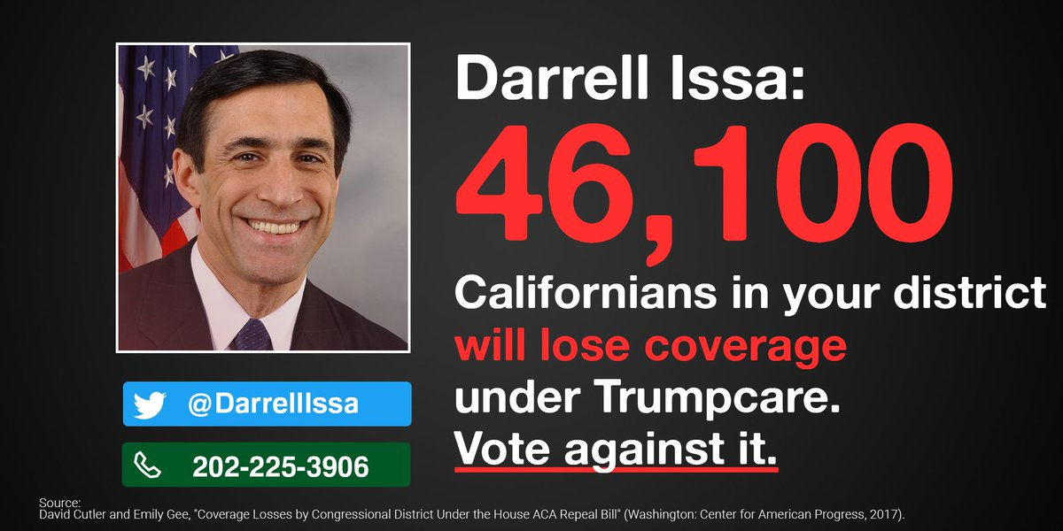 .@DarrellIssa Are u proud knowing >46K of ur constituents will lose coverage under Trumpcare? Grow a pair & stop it!