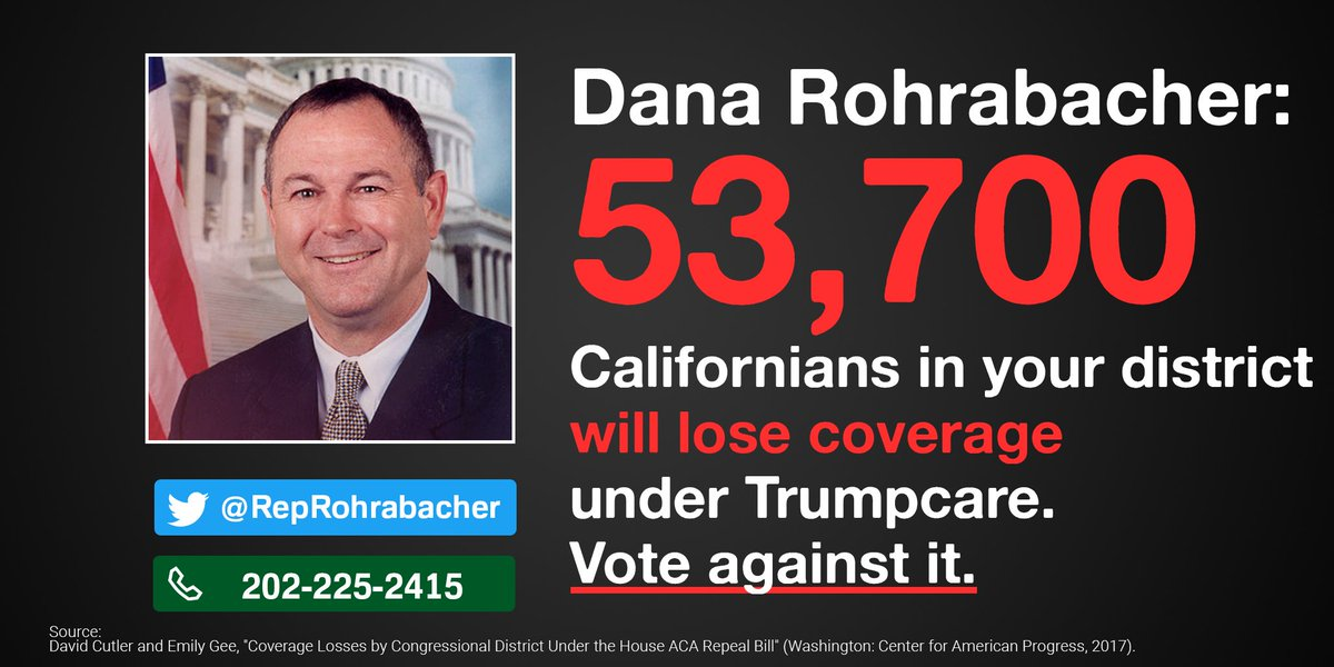 .@RepRohrabacher I can\'t sleep knowing >53K of ur constituents wld lose coverage under Trumpcare. Stand up & say no!