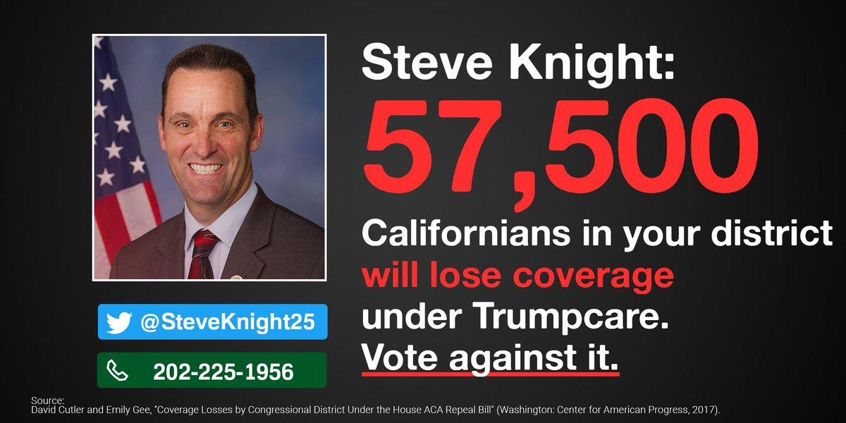 .@SteveKnight25, 57,500 of your constituents would lose coverage under Trumpcare. Stand up and oppose it!