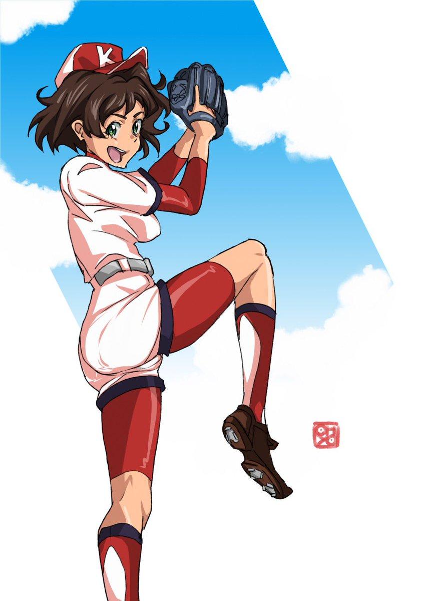本日の・・・ 「プリンセスナイン 如月女子高野球部」早川 涼 投球練習中にうっかりぱんつライン。 描くのは同人ソフト以来19年ぶり。