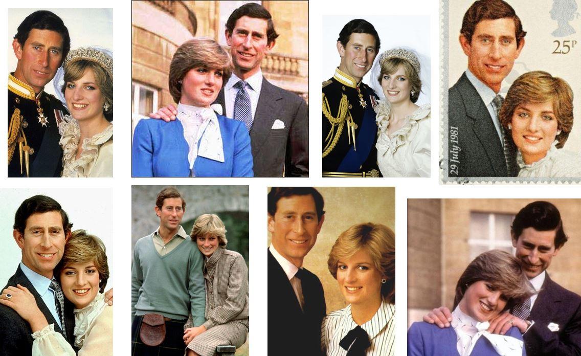 Pr. Diana et Pr. Charles représentés sur des timbres.