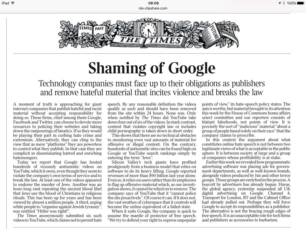 Google must accept its responsibilities as a publisher and remove hate speech. @thetimes leader sums it up. https://t.co/MYOdntKzZe