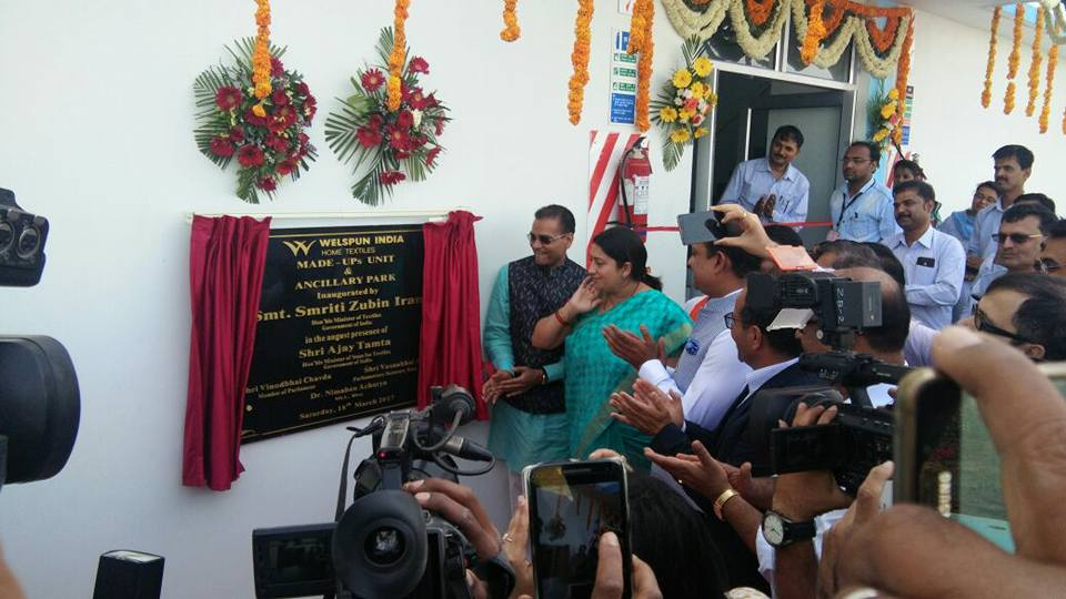 Textile minister Smriti Irani inaugurates Welspun's advanced plant, cut  & sew capacity in Gujarat
