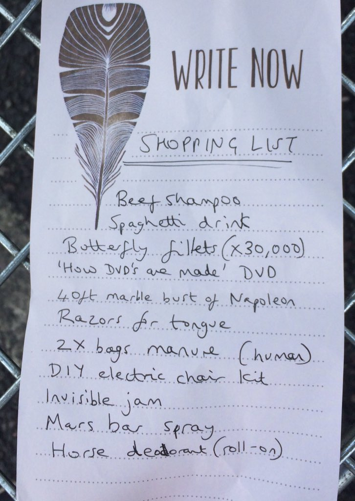 Today's shopping list left in a supermarket trolley for one happy shopper: https://t.co/nsRXljj5OG