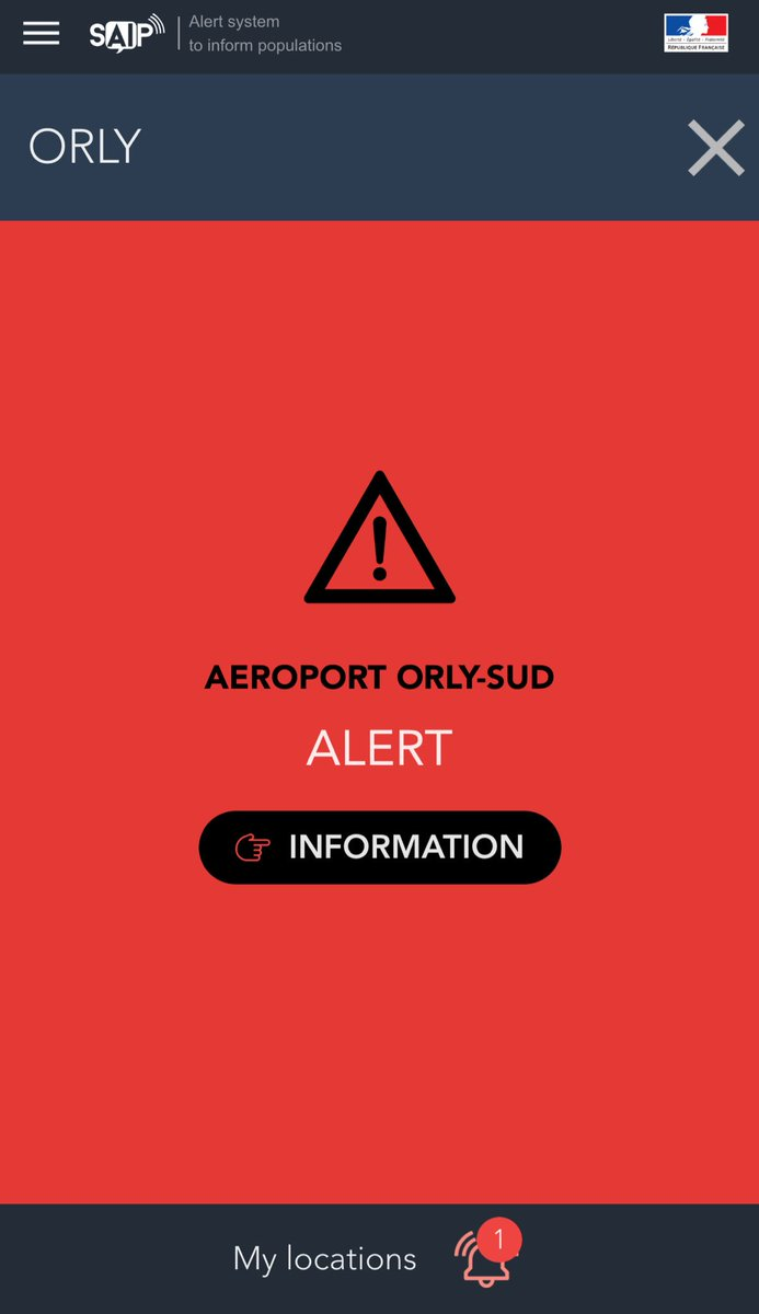 #France #Paris - #SAIP alert for #Orly has finally been launched.<br>http://pic.twitter.com/3ZnzgPrnXH