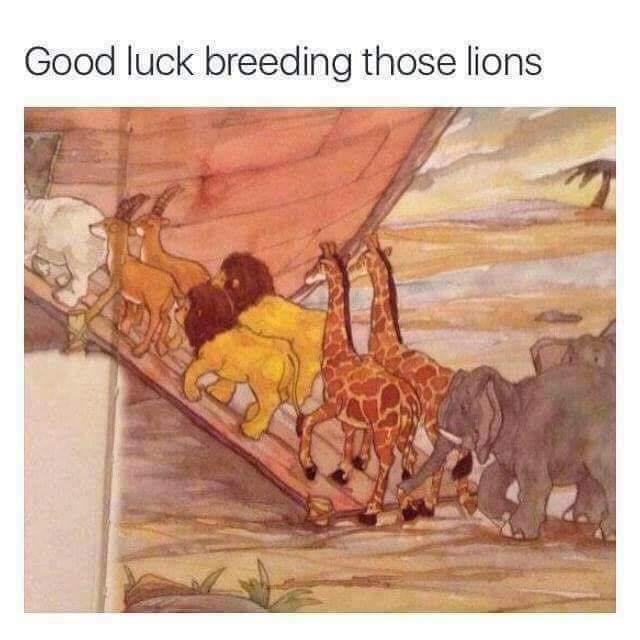ノアの方舟の挿絵  「ライオンの交配がうまく行くといいね」