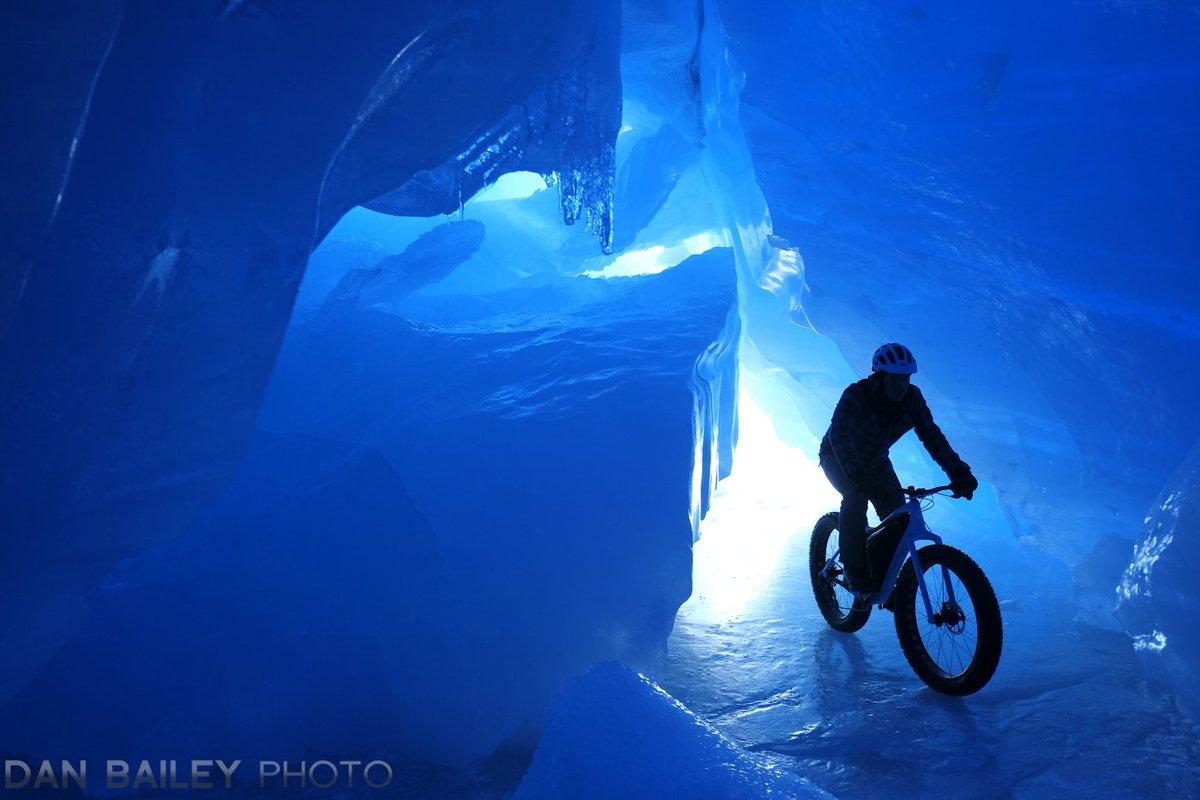 Biking inside an ice cave. #Alaska #glacier #myfujifilm #adventurebybike #fatbiking #cycling #adventure https://t.co/xCH2Ifv3nH