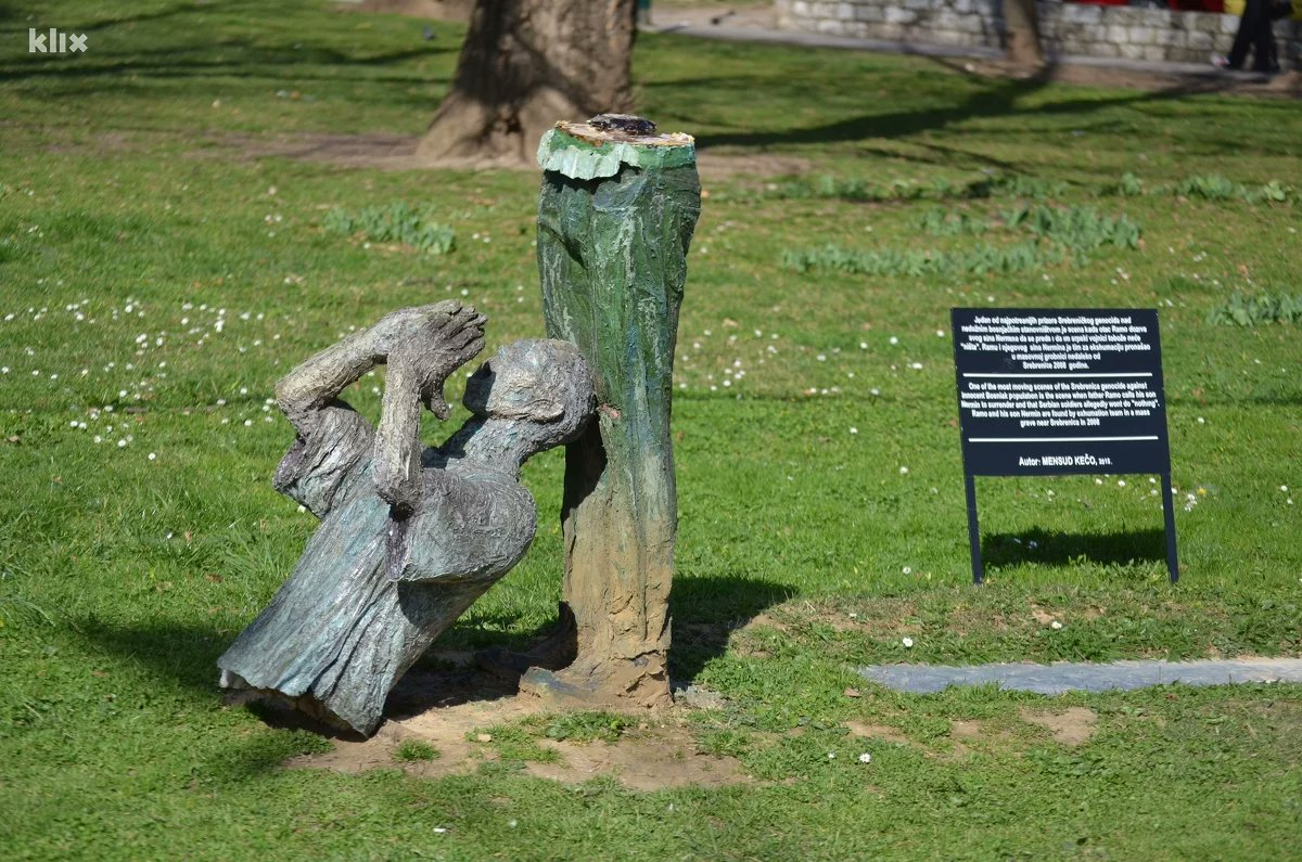Unknown person damaged memorial to the victims of Srebrenica Genocide in Sarajevo. Bosnia