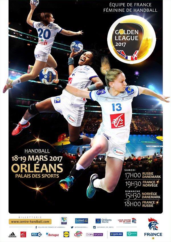 #Handball : Samedi 18 mars 2017 (Palais des Sports d'Orléans)  - 17h00 : Russie / Danemark  - 19h30 : France / Norvège  #GoldenLeague<br>http://pic.twitter.com/BZp8eDcIm9