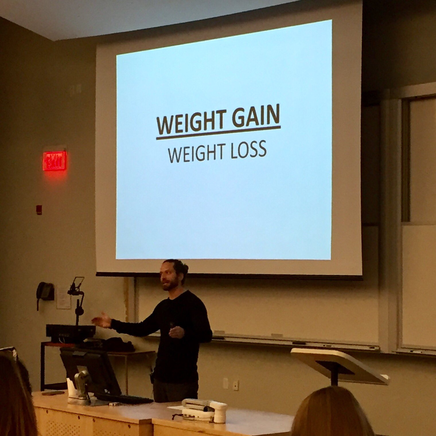 @BradPilon flips things on their heads--we don't have a weight loss problem, we have a weight gain problem. #exercisenutritionsymposium https://t.co/3RVDRbIGFm