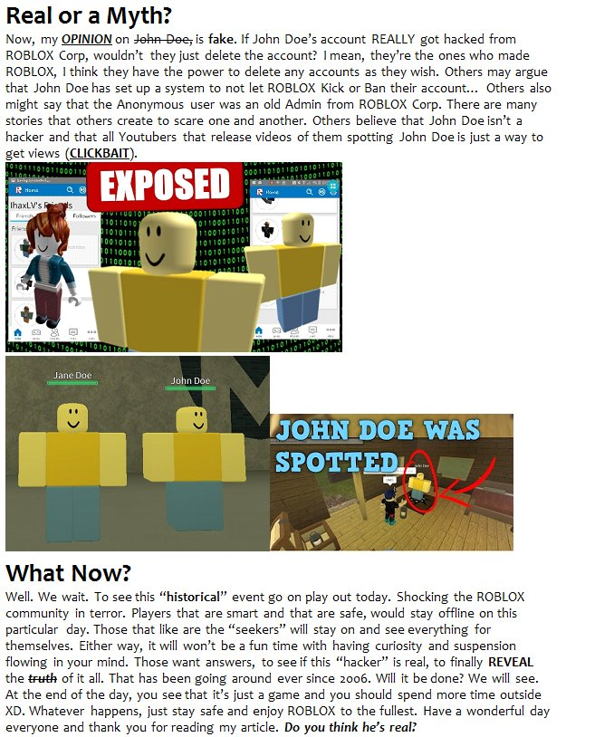 Snake Productions On Twitter Roblox Daily News John Doe Attack