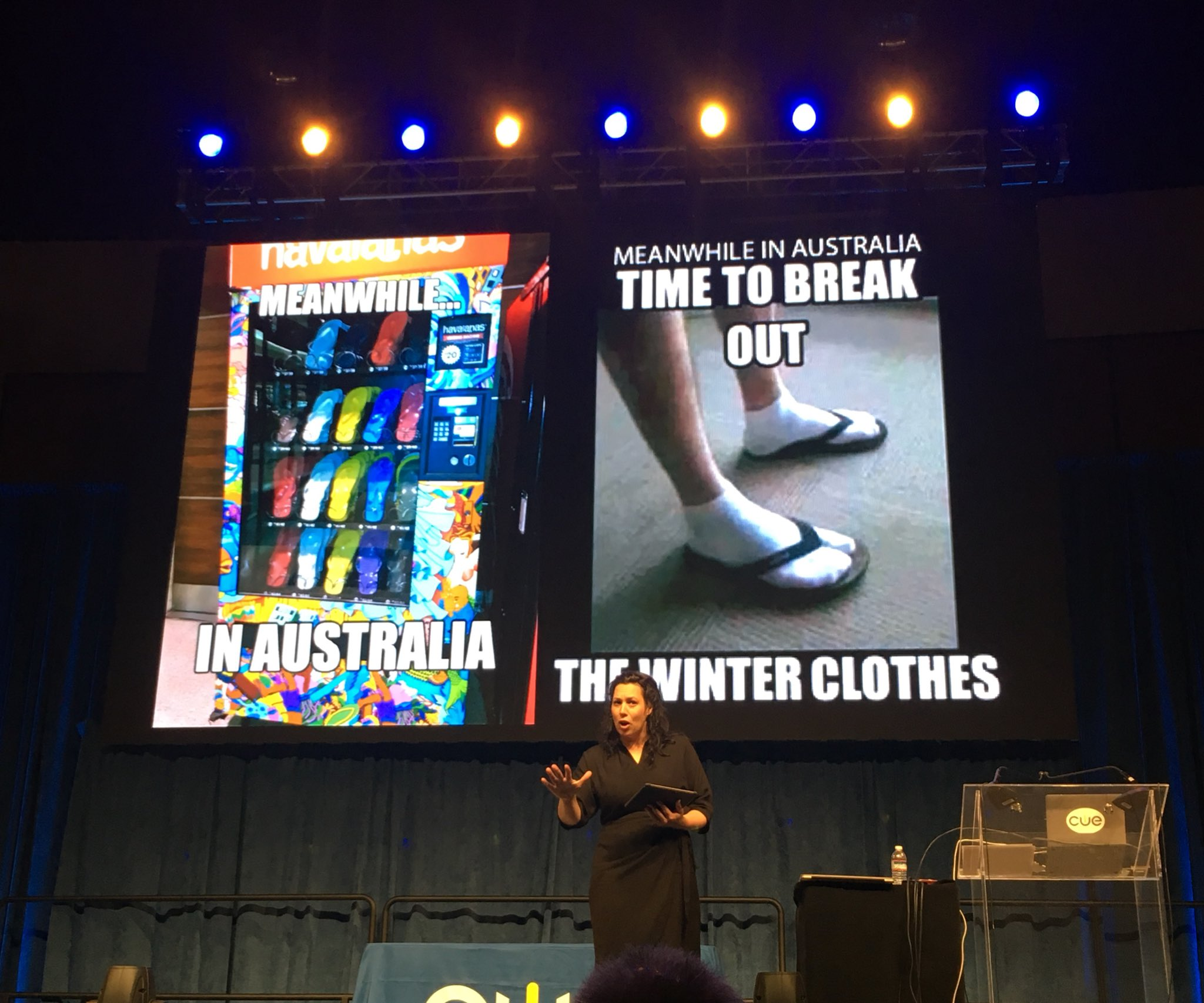 Why aren't there flip flop vending machines in CA?! @art_cathyhunt is already ROCKING her closing Keynote at #cue17 https://t.co/yOQ0JfNhvs