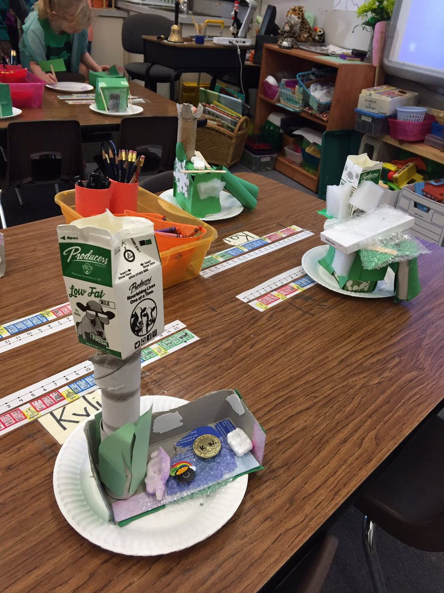 Juniper 1st grade excited for learning as they design leprechaun traps with booties. School is cool! #excellenceforall