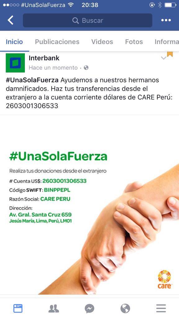 Para quienes quieran donar desde el extranjero, vía CARE Peru e Interbank. Gracias! https://t.co/9xkjDRfCPG