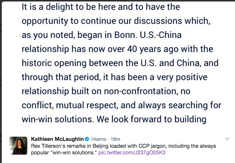 This is insane. Tillerson in Beijing word-for-word repeats sentence XI JINPING told Obama, points out @kemc https://t.co/PnCI1wujpe