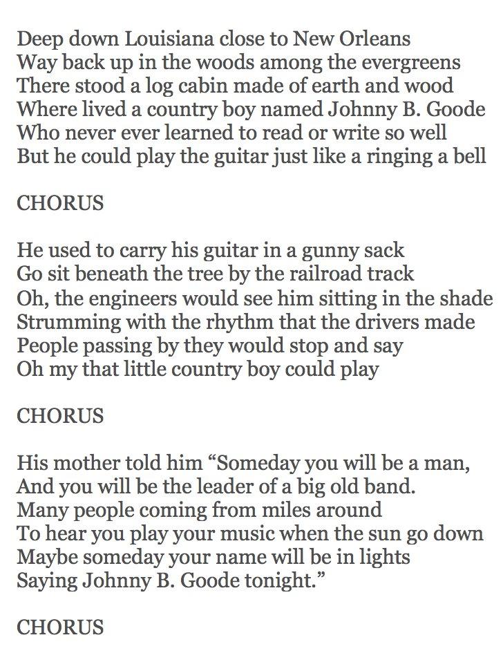 Johnny B. Goode Lyrics