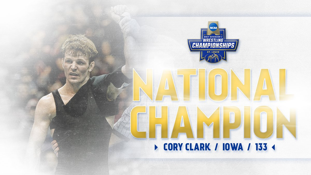 A three-time finalist, Iowa's CORY CLARK is now at the TOP of the 133-pound weight class! #NCAAWrestling https://t.co/91FMQftHiI