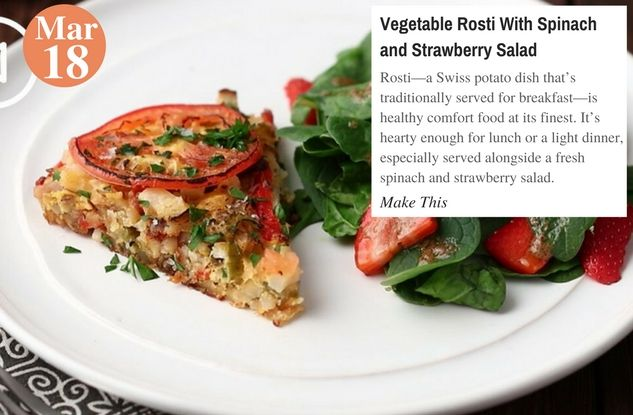 Vegetable Rosti With Spinach and Strawberry Salad