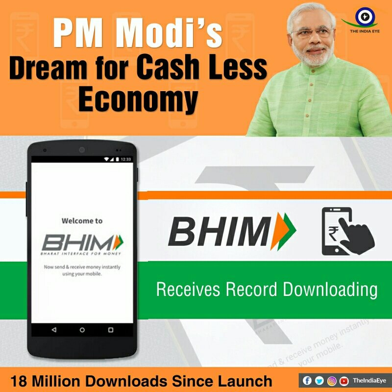PM @narendramodi &#39;s Dream for Cash Less Economy is being implemented through the #BHIMApp   #TransformingIndia  #IAmNewIndia<br>http://pic.twitter.com/ZfcA8QZh5k