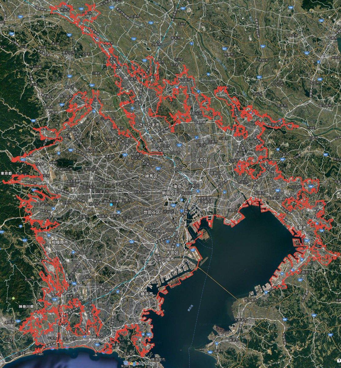 東京は街が途切れないというが、実際どこまで続いているのだろうか。それを確かめるためGoogleマップをなぞったら一年かかった。一周3599km。誰でも閲覧できます。 google.com/maps/d/viewer?…