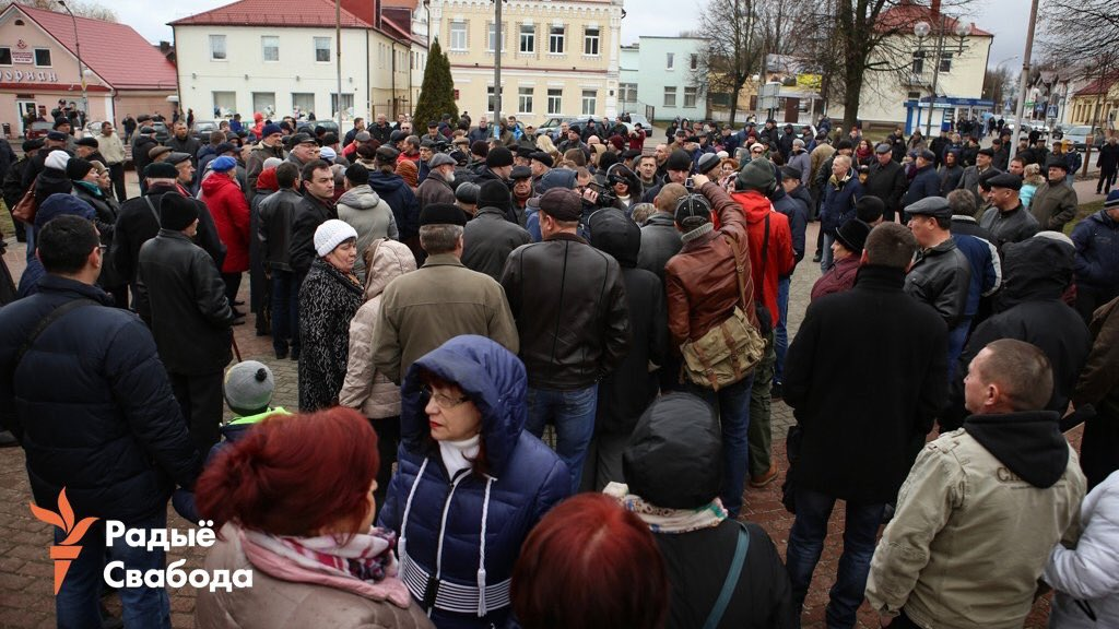 In Slonim, Hrodna region, Belarus, hundreds joined protest against poor economic conditions