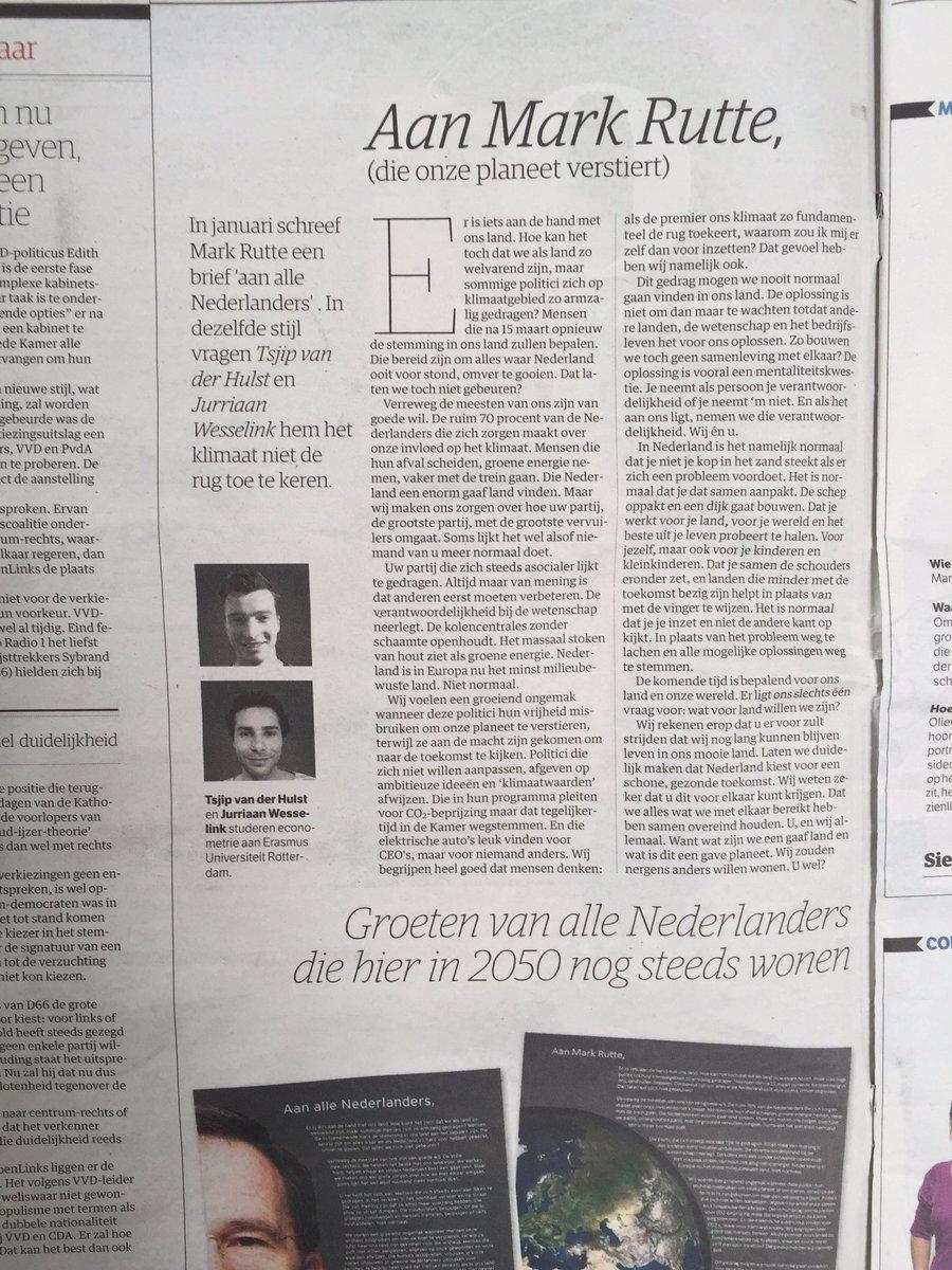 """Sterke brief aan Mark Rutte: """"Nederland is in Europa het minst milieubewuste land. Niet normaal."""" https://t.co/CoCC5UjfFo"""