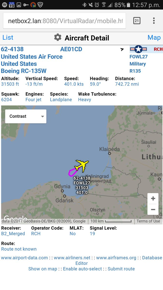 USAF RC-135W spy plane watching Kaliningrad