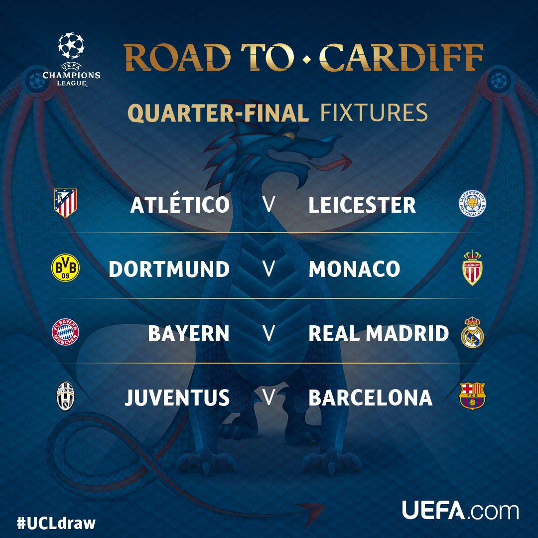 awesome matches ahed !!;!  #uclDraw https://t.co/WbuBh5nmgv
