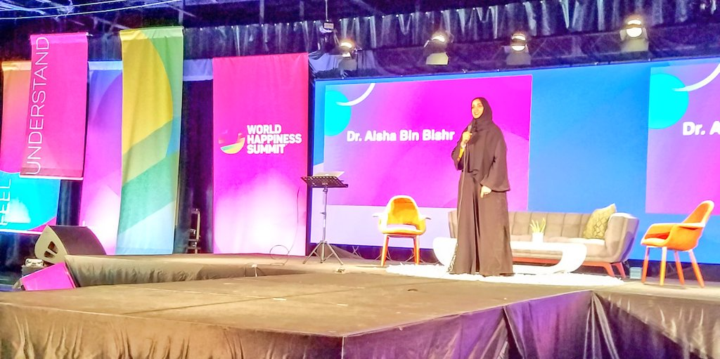 We need to collaborate on a global level to share best happiness practices. ~ @Aisha_BinBishr #Wohasu #WorldHappinessSummit https://t.co/lNyfgbK4x9