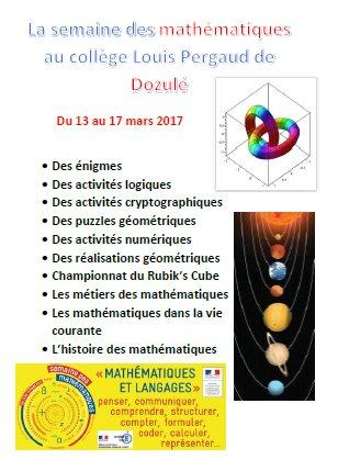 #Enigmes #cryptographie #geometrie #RubiksCube #métiers #histoire... Une #semainedesmaths riche au collège Pergaud de Dozulé @acCaen<br>http://pic.twitter.com/KbEFvwImb1
