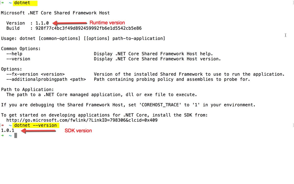 A constant source of confusion for devs working with #dotnet core. dotnet gives runtime, dotnet —version gives SDK https://t.co/si37vcQzPY