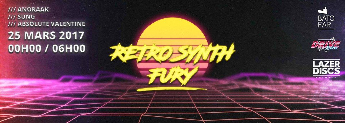 Ce soir → @Batofar : Retro Synth Fury w/ @Anoraak + @sung_music + @AbsoluteValenti  &gt; Préventes à 11,49€ sur l&#39;appli!! #CLUB <br>http://pic.twitter.com/rKZqOUGQtd